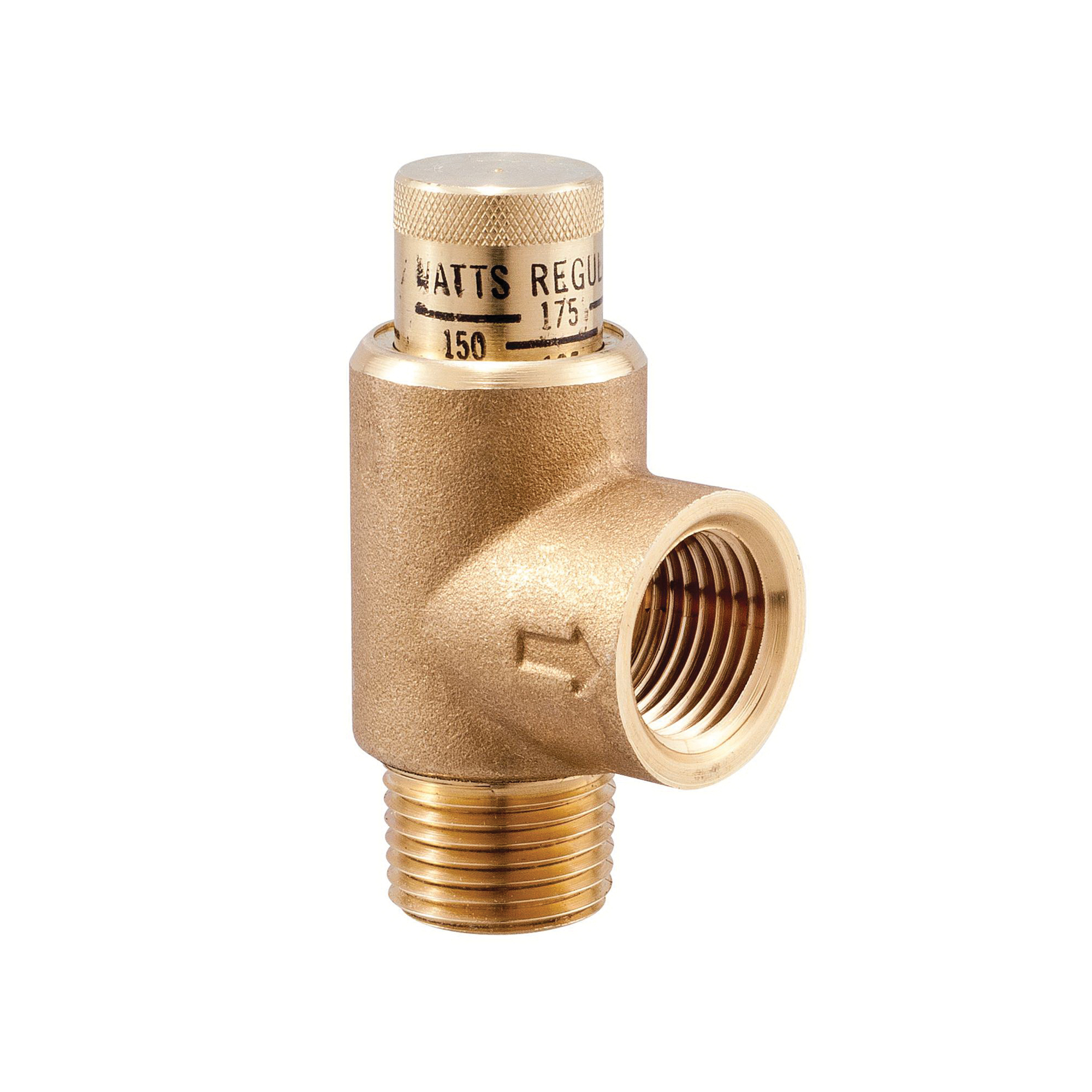 WATTS® 0121626 LF530C Calibrated Pressure Relief Valve, 3/4 in, MNPT x FNPT, 100 to 300 psi, Brass Body
