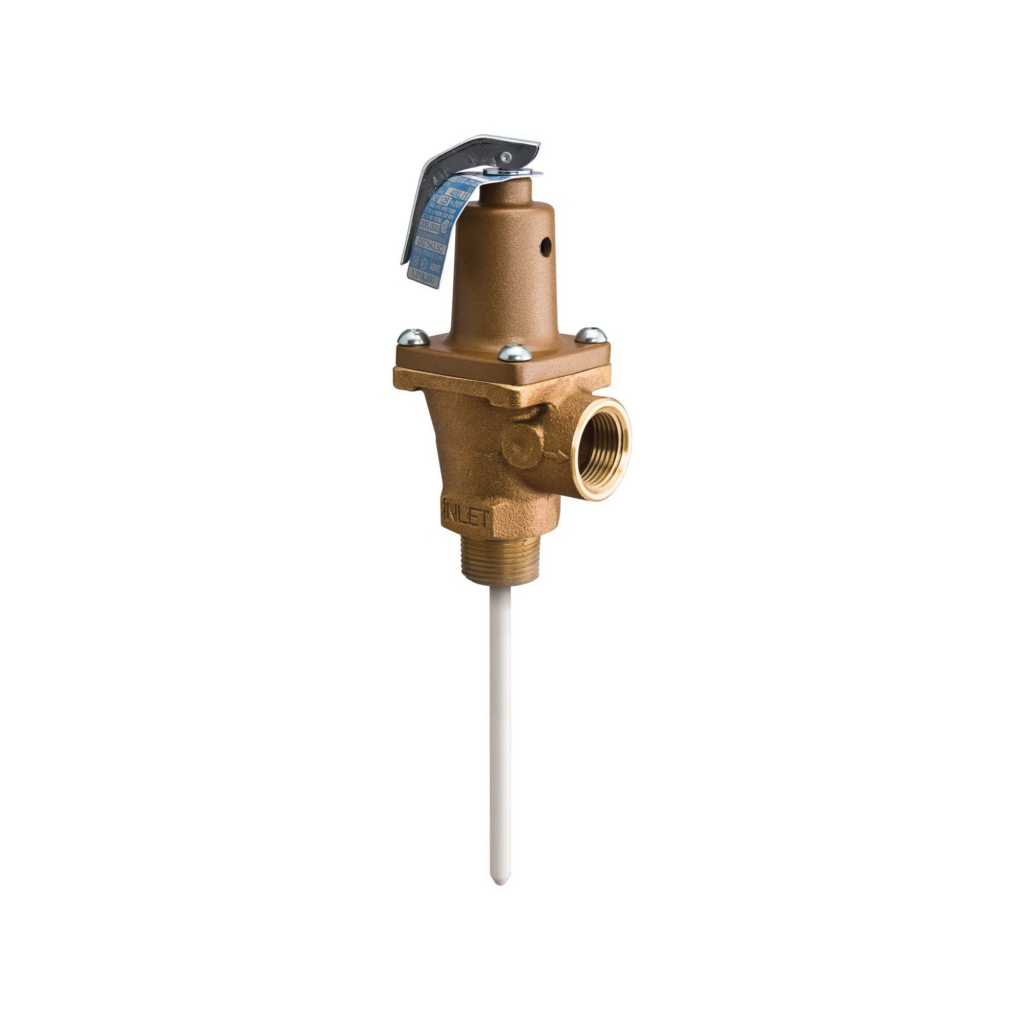 WATTS® 40XL Automatic Re-Seating Temperature and Pressure Relief Valve, 1 in, MNPT x FNPT, Bronze