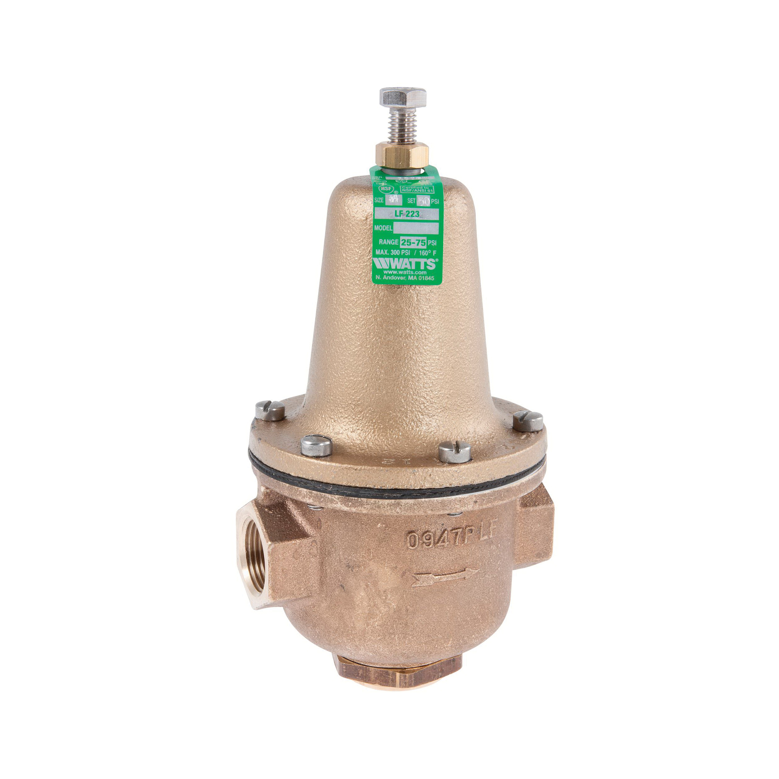 WATTS® 0298522 LF223 High Capacity Pressure Reducing Valve, 3/4 in, FNPT, 300 psi Working, Brass Body