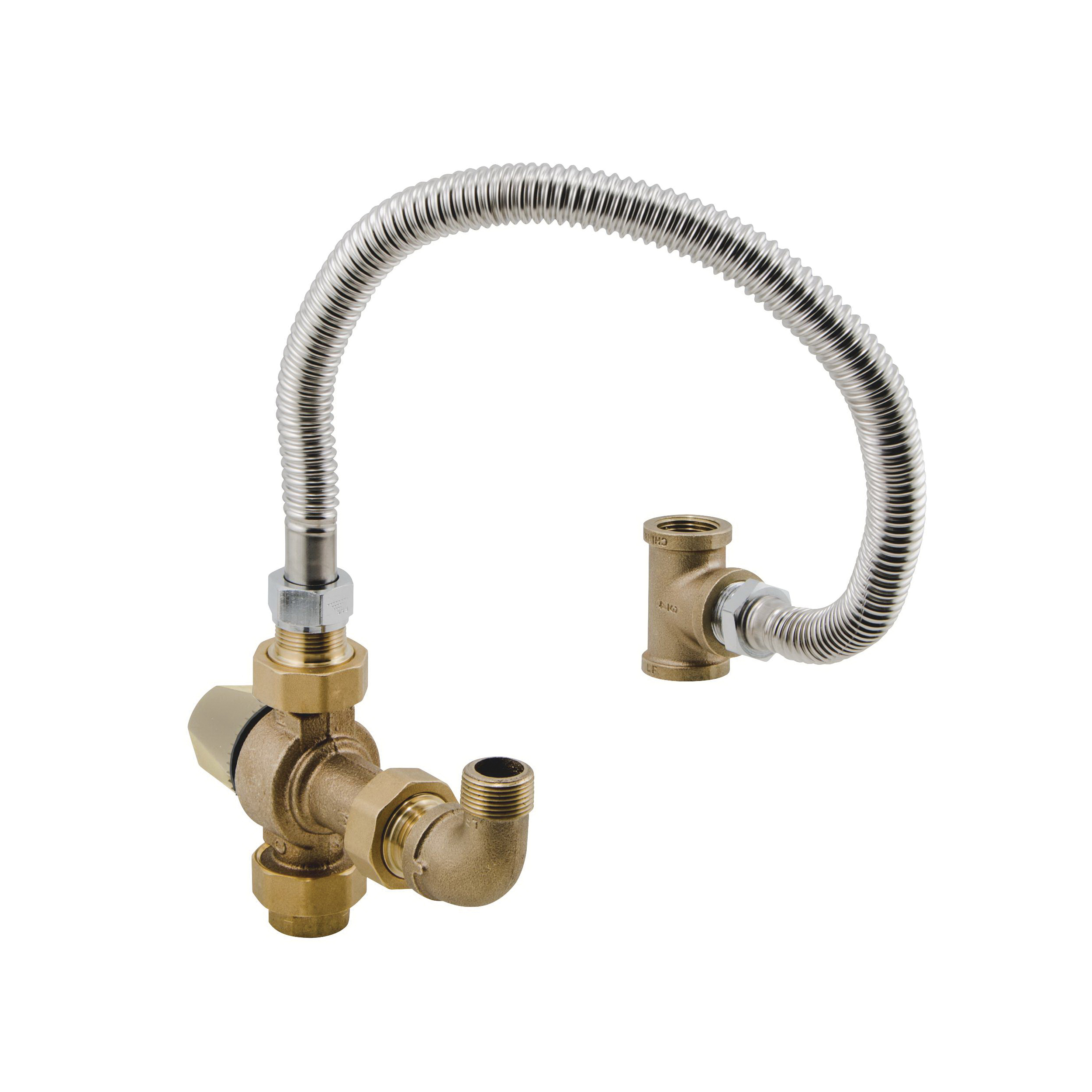 WATTS® 0559178 LFMMV-HTK Capacity Extender Thermostatic Mixing Valve, 3/4 in, Thread Union, 125 psi, 0.5 gpm, Brass Body