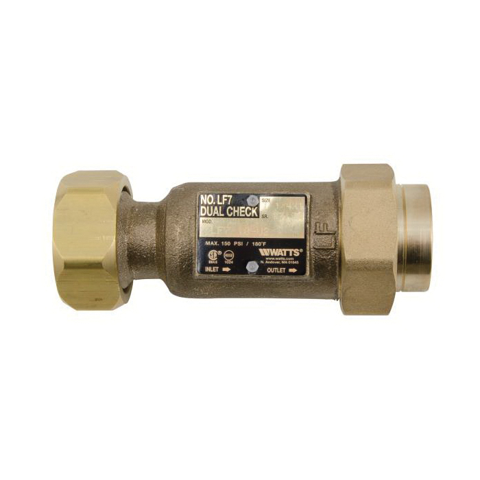 WATTS® 0792076 LF7 Dual Check Valve, 3/8 in, FNPT, Cast Copper Silicon Alloy Body, Low Lead Compliance: Yes