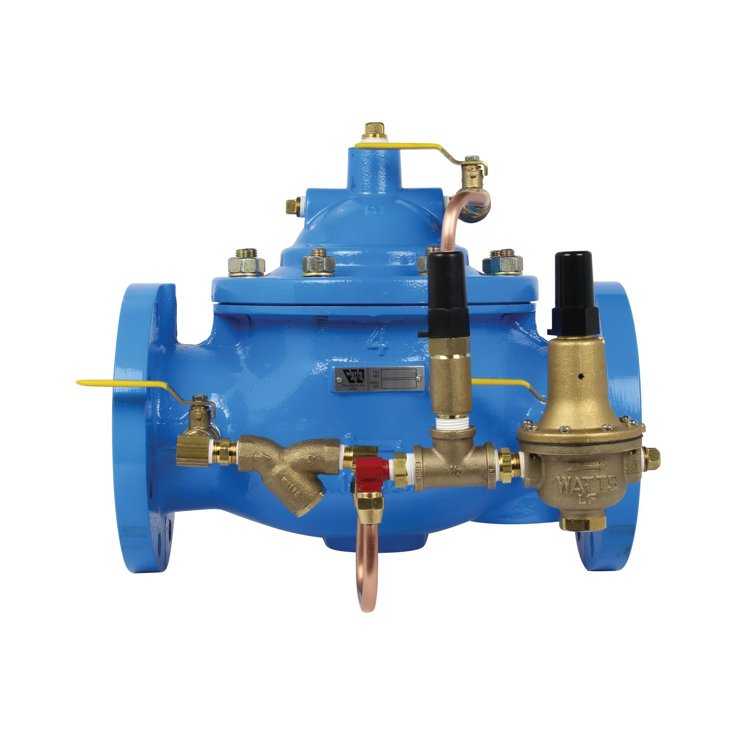 WATTS® V2016-04 LFF115 Pressure Reducing Globe Valve, 4 in, Flange, 250 psi, 50 to 800 gpm, Ductile Iron Body