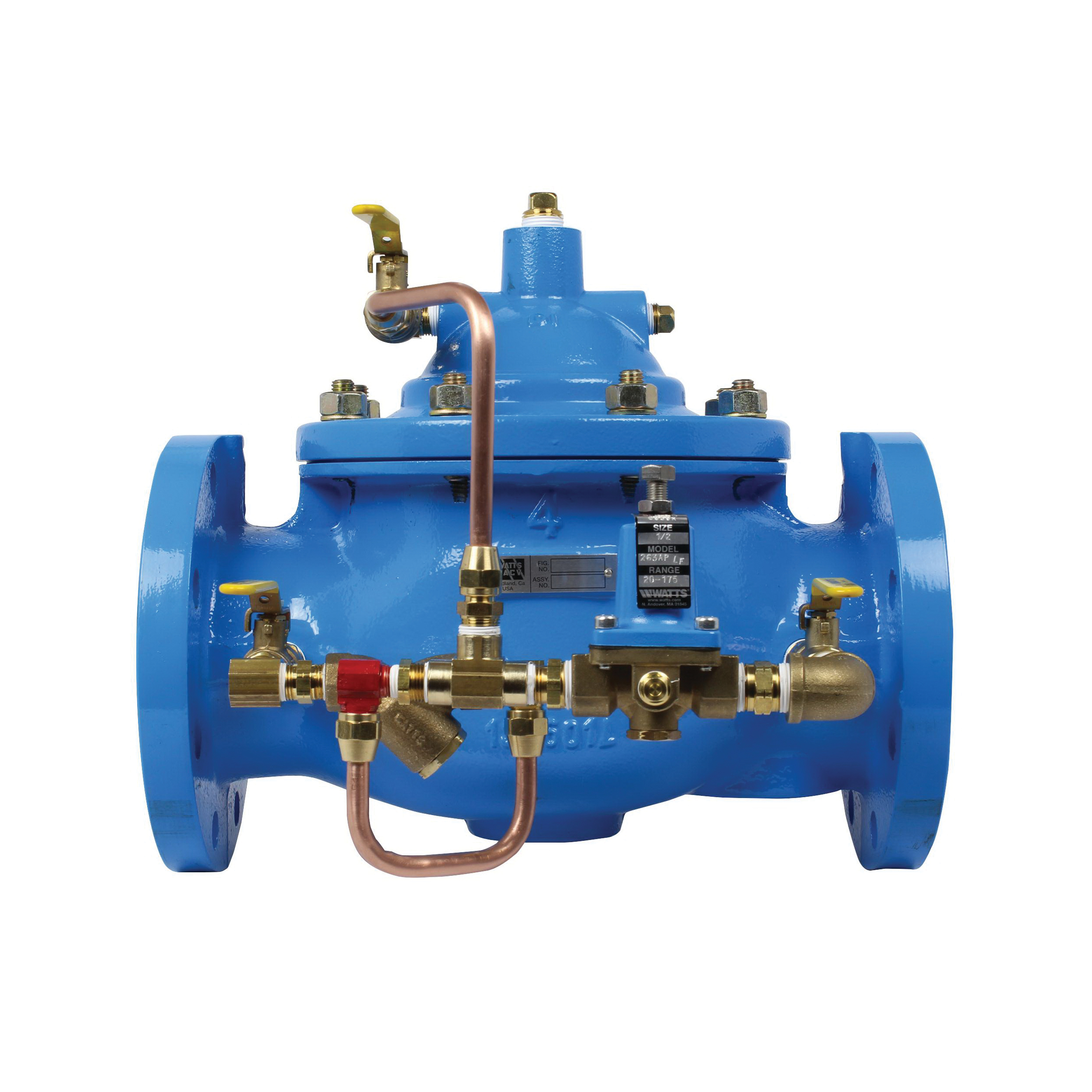 WATTS® V2018-04 LFF115 Pressure Reducing Globe Valve, 6 in, Flange, 250 psi, 115 to 1850 gpm, Ductile Iron Body