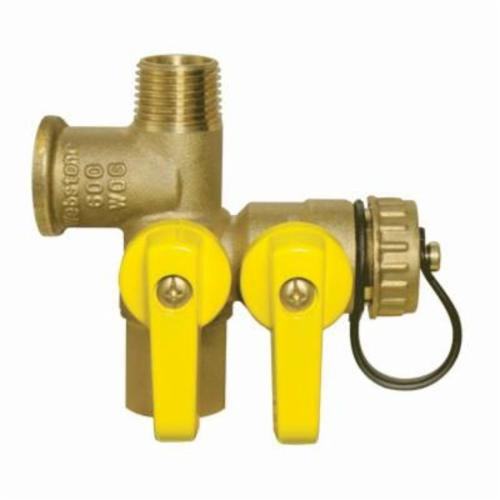 Webstone Expansion Tank Pro Service Valve™ Pro-Pal® 41672 Ball Valve, 1/2 in FNPT x MNPT x FNPT x Hose, Brass, Full Port