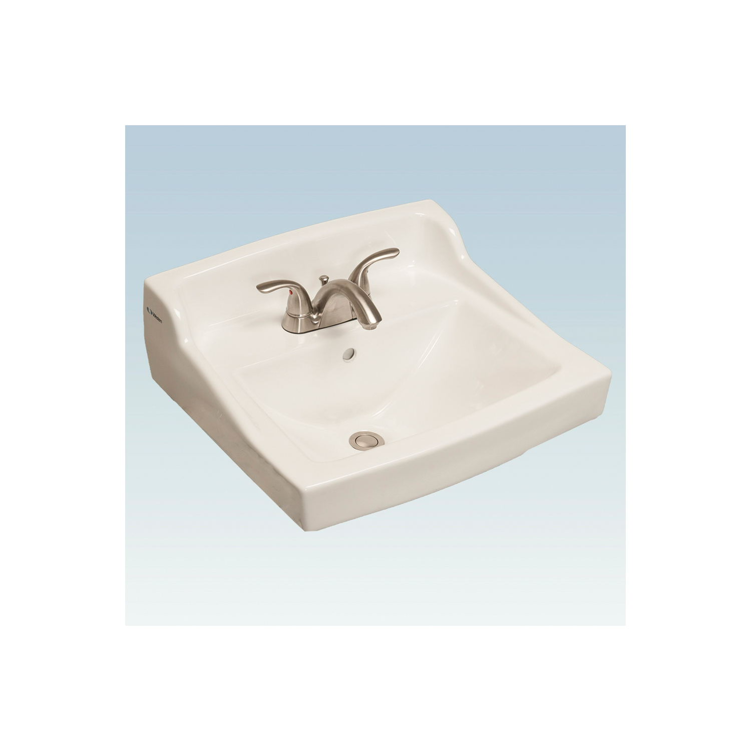 Western Pottery L400 Lavatory Sink, Rectangular, 4 in Faucet Hole Spacing, 20-1/2 in W x 18-3/4 in D x 34 in H, Wall-Hung Mount, Vitreous China, White