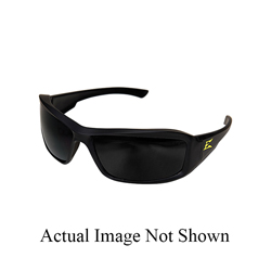 EDGE® XB136-E1 Brazeau Non-Polarized Safety Glass With Yellow E Logo, Smoke Lens, Black Frame