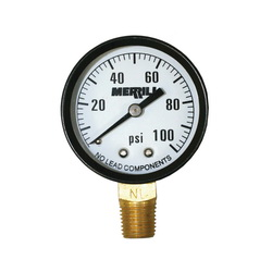 Merrill™ PGNL100 Pressure Gauge, 2 in Dial, 0 to 100 psi, 1/4 in MNPT Lower Mount, +/-3-2-3% Accuracy, Liquid Filled: No