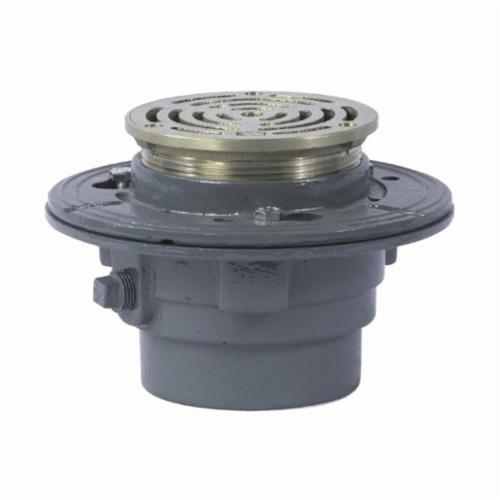WATTS® FD-100-B Floor Drain With Round Heavy Duty Strainer, 4 in, No Hub, 5 in Grid, Ductile Iron Grid, Cast Iron