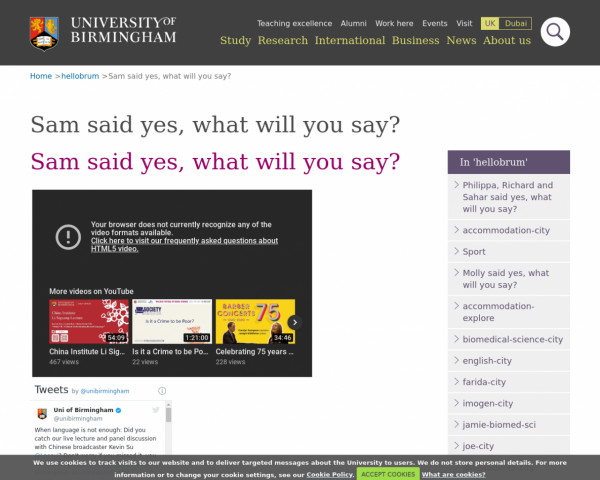 Screenshot of Sam said yes, what will you say? - University of Birmingham