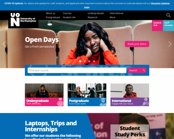 Desktop screenshot of University of Northampton website