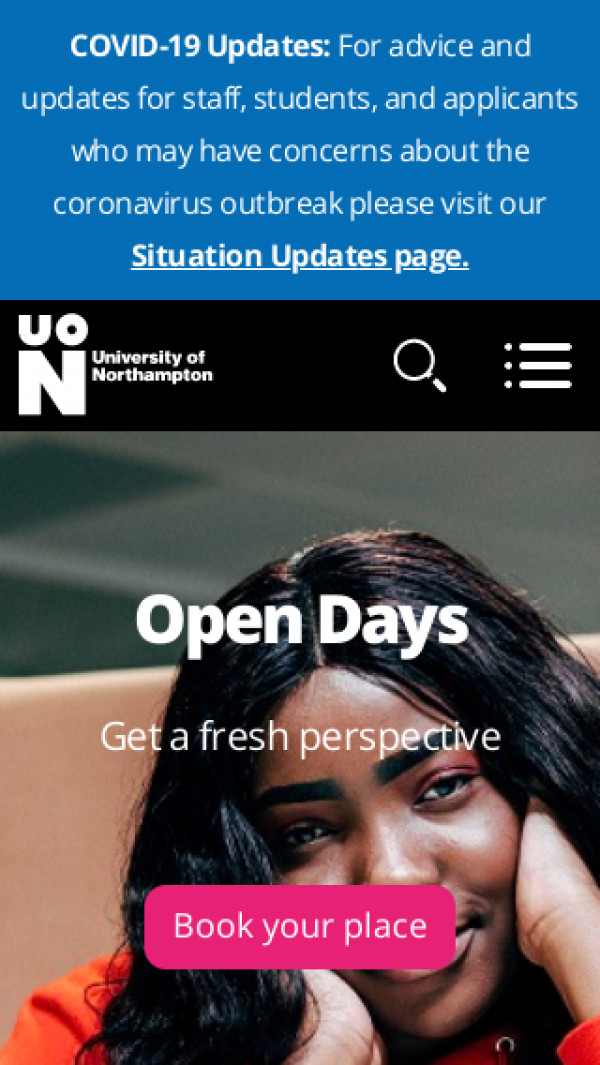 Mobile screenshot of University of Northampton website