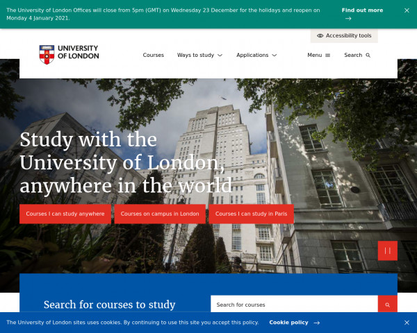 Desktop screenshot of University of London website