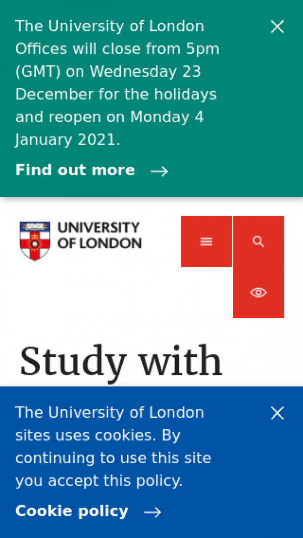 Mobile screenshot of University of London website