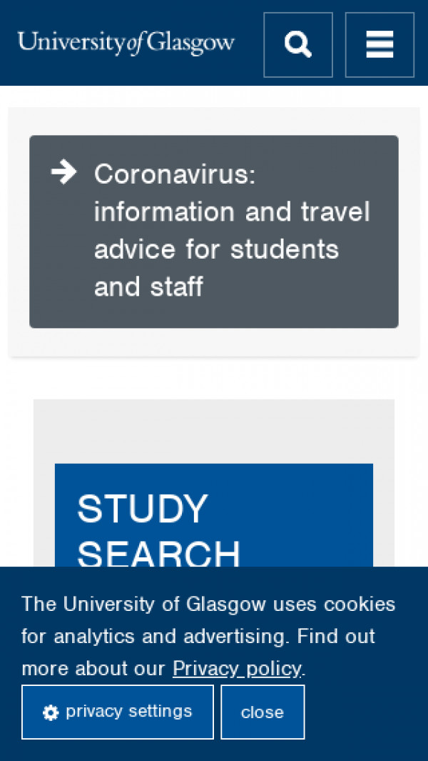 Mobile screenshot of University of Glasgow website