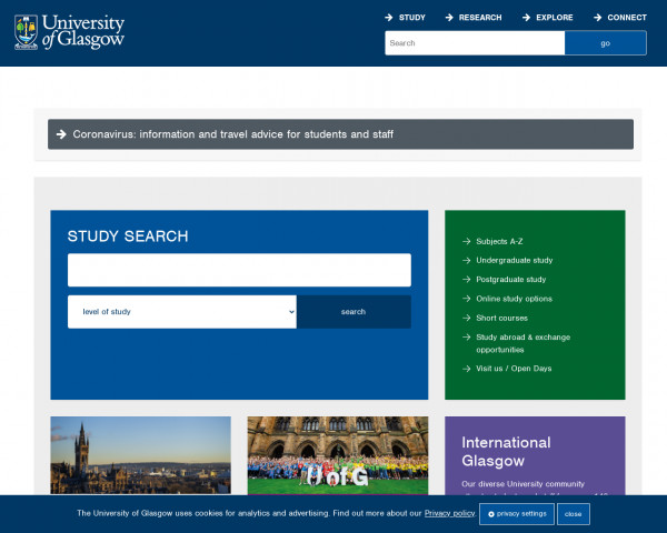 Desktop screenshot of University of Glasgow website