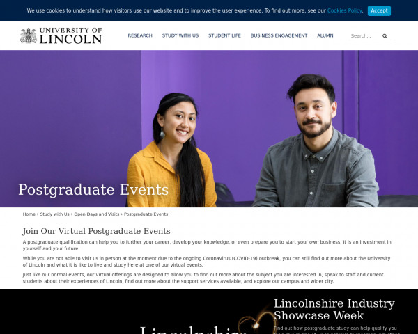 Screenshot of Postgraduate Events | Open Days and Visits | University of Lincoln