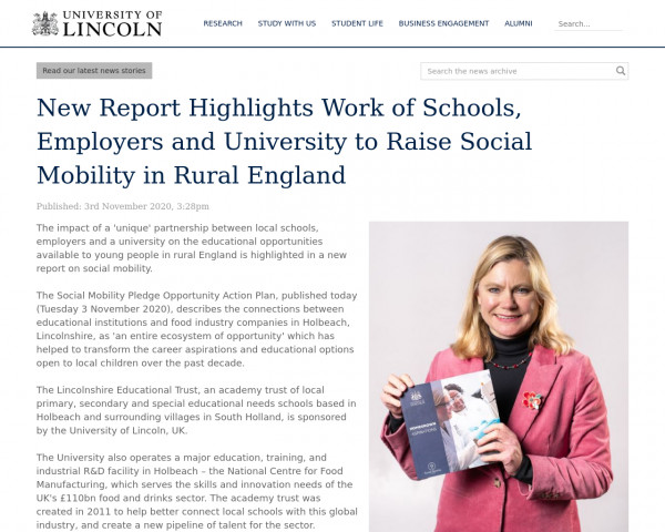 Screenshot of New Report Highlights Work of Schools, Employers and University to Raise Social Mobility in Rural England