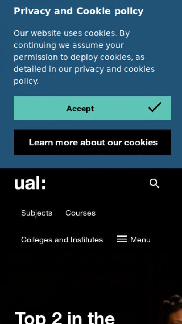 Mobile screenshot of University of the Arts London website