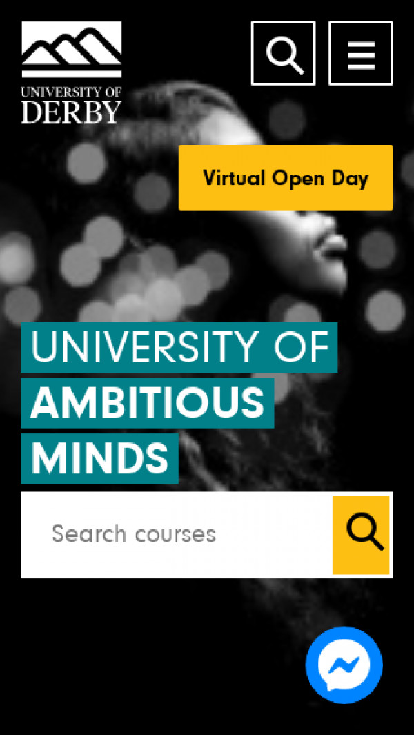 Mobile screenshot of University of Derby website