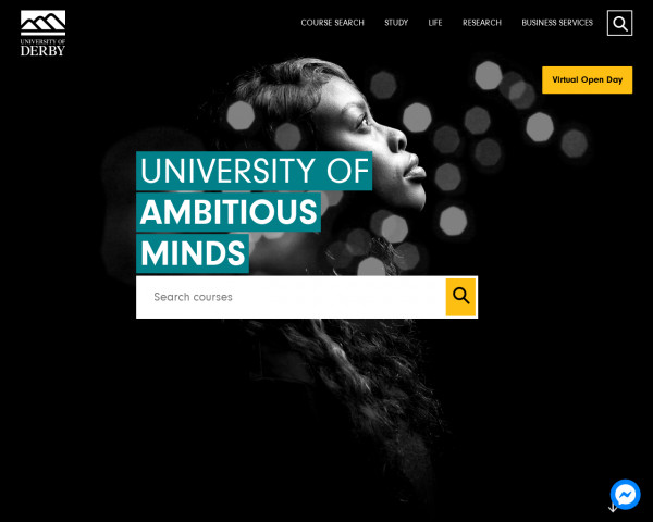 Desktop screenshot of University of Derby website