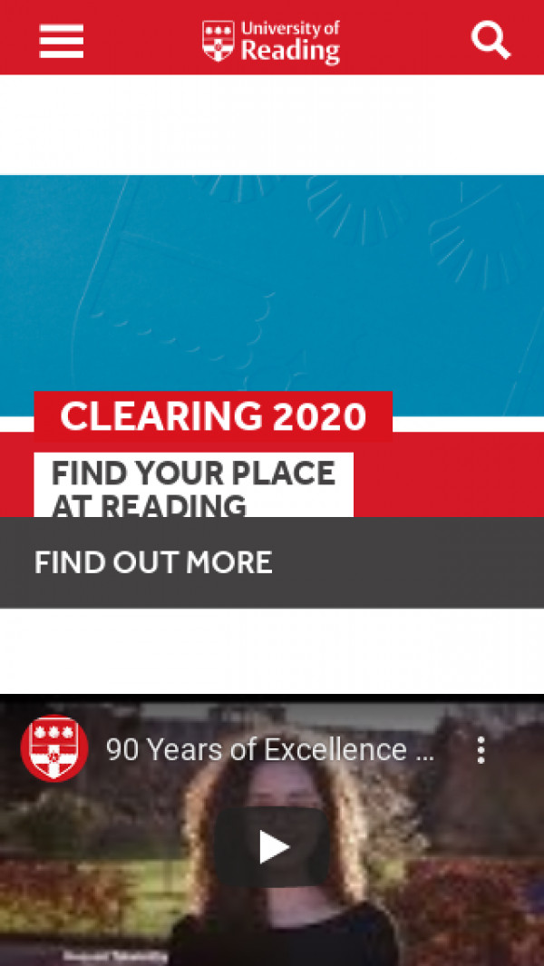 Mobile screenshot of University of Reading website