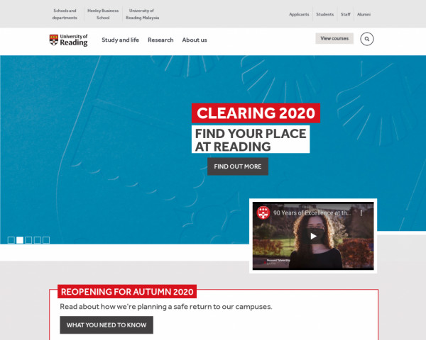 Desktop screenshot of University of Reading website