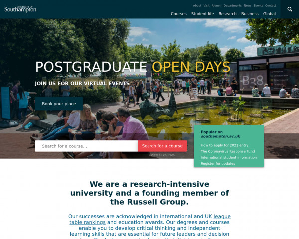 Screenshot of Global top 100 university | University of Southampton