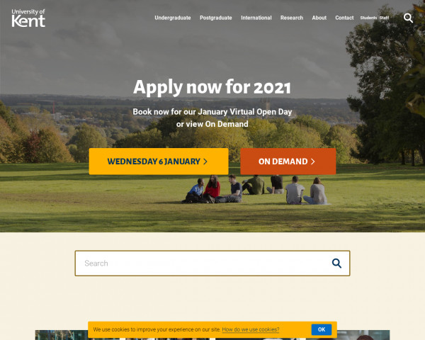 Desktop screenshot of University of Kent website