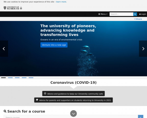 Desktop screenshot of University of Plymouth website