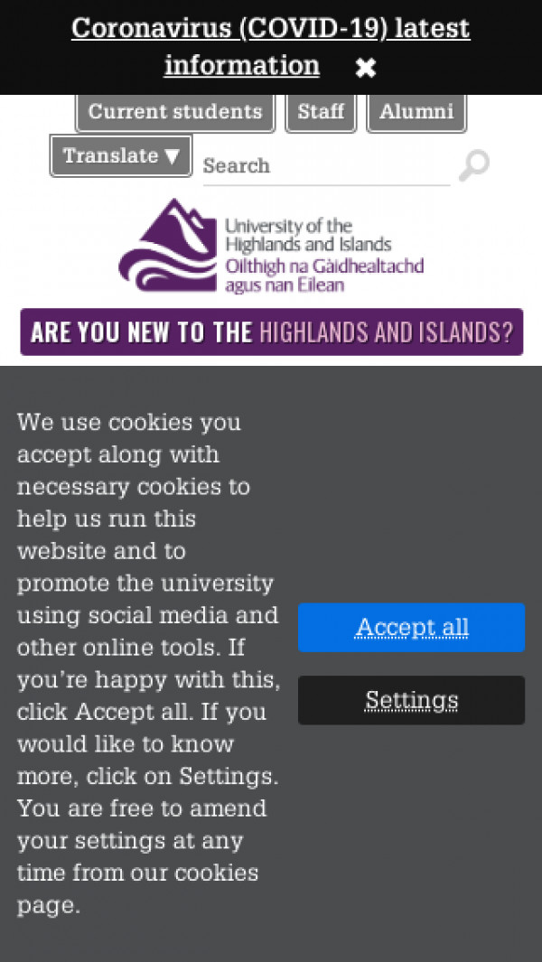 Mobile screenshot of University of the Highlands and Islands website
