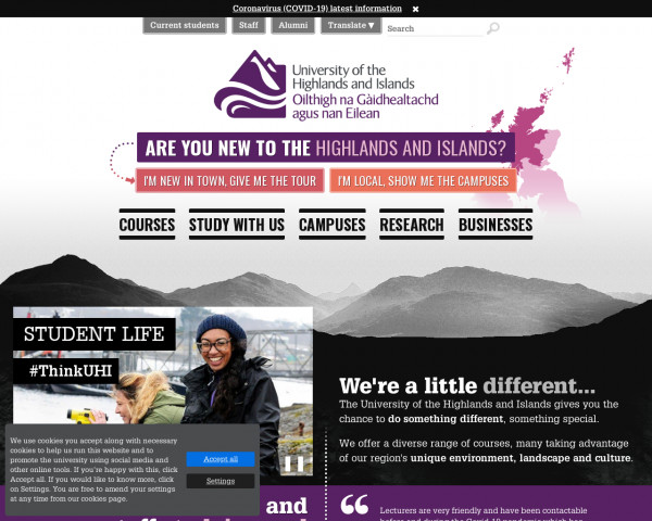 Desktop screenshot of University of the Highlands and Islands website