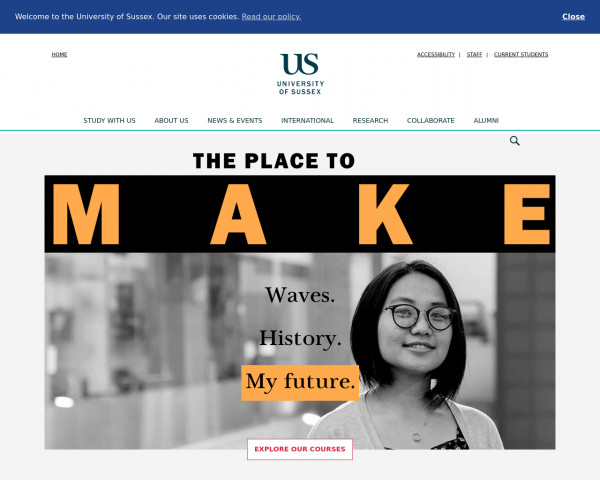 Desktop screenshot of University of Sussex website