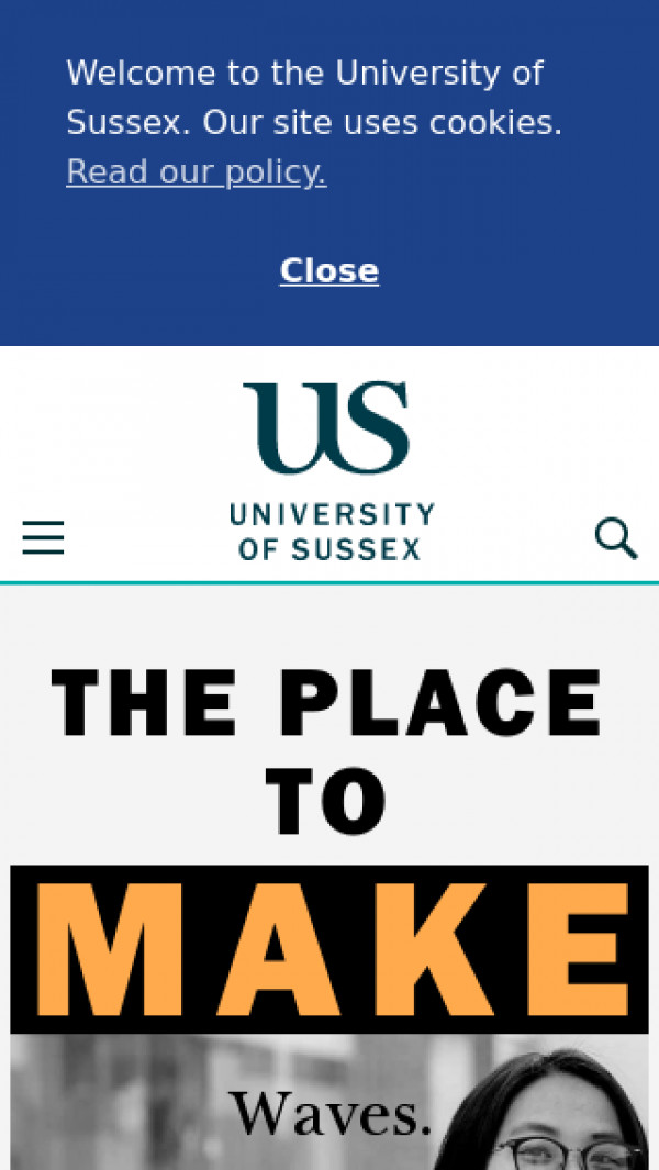 Mobile screenshot of University of Sussex website