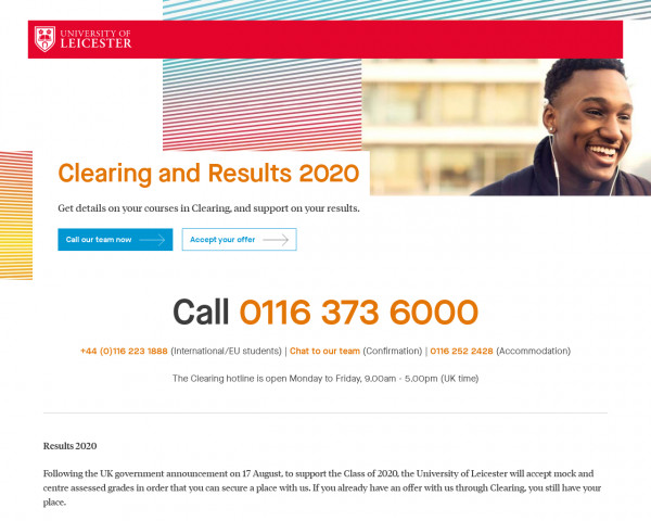 Screenshot of Clearing and Results 2020 | University of Leicester