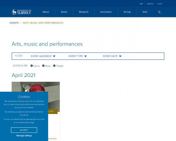 Screenshot of Arts, music and performances | University of Surrey