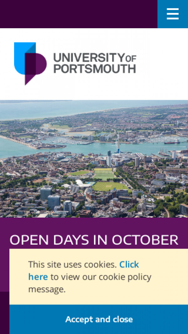 Mobile screenshot of University of Portsmouth website