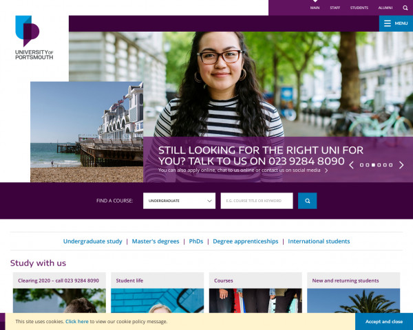 Desktop screenshot of University of Portsmouth website