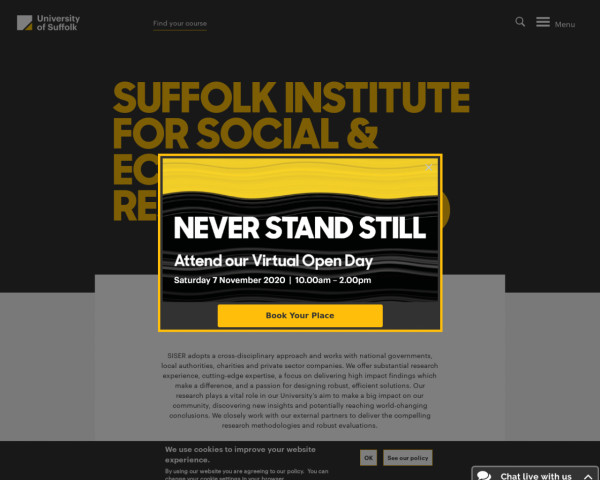 Screenshot of Suffolk Institute for Social & Economic Research (SISER) | University of Suffolk