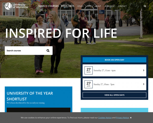 Desktop screenshot of University of Worcester website