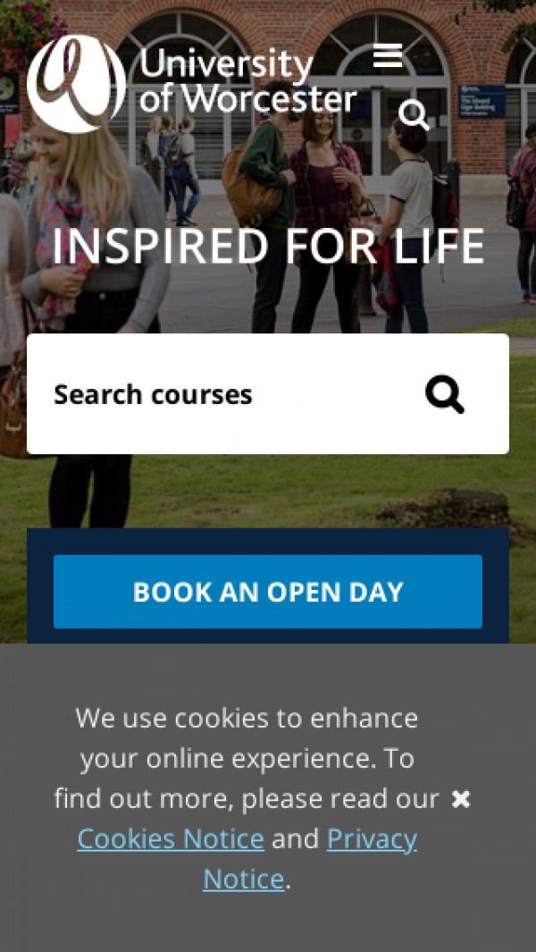 Mobile screenshot of University of Worcester website