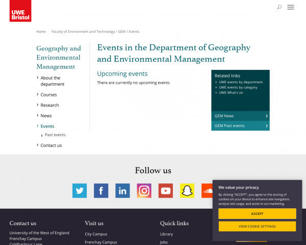 Screenshot of Events - UWE Bristol: Geography and Environmental Management