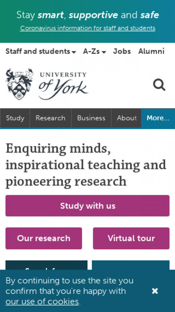 Mobile screenshot of University of York website