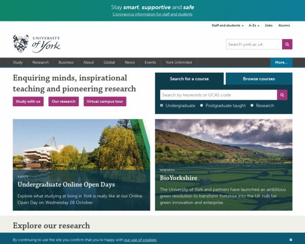Desktop screenshot of University of York website