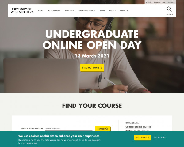 Desktop screenshot of University of Westminster website