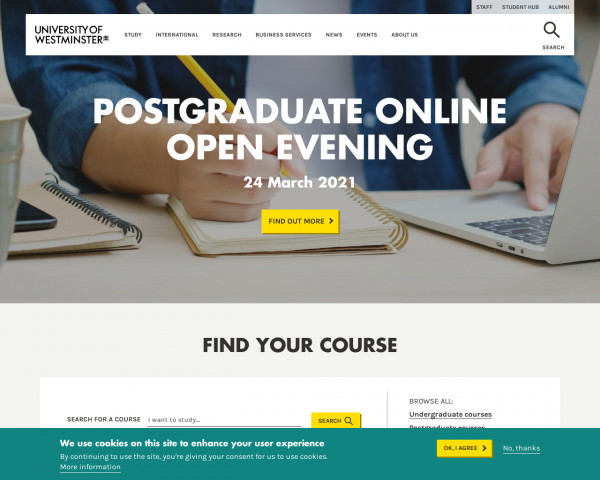 Screenshot of University of Westminster