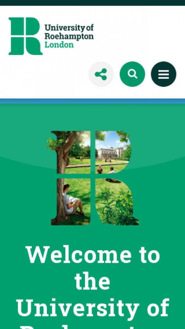 Mobile screenshot of Roehampton University website