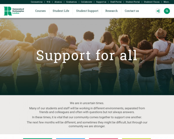 Screenshot of Support for all | University of Roehampton