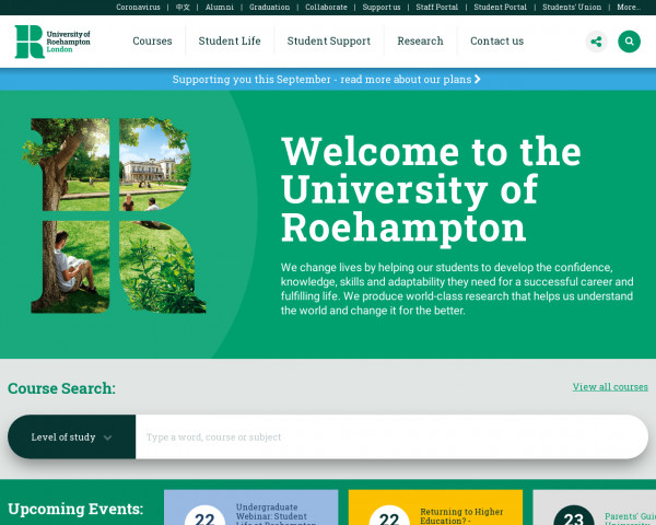 Desktop screenshot of Roehampton University website