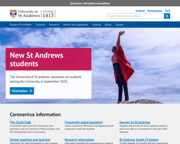 Desktop screenshot of University of St Andrews website