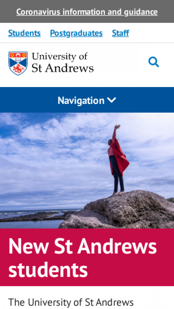 Mobile screenshot of University of St Andrews website